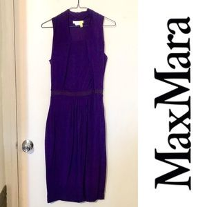 Max Mara Sz S Dress Purple Stretch Knee Length